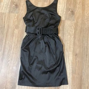 Black satin party dress